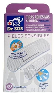 Dr. SOS Sensitive náplasť prúžky mix. 2 veľkosti, priedušné 1x20 ks