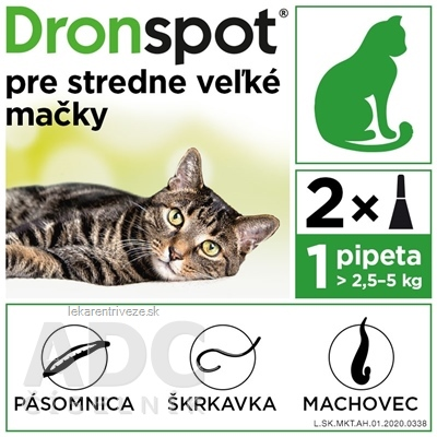 Dronspot 60 mg/15 mg spot-on (2 pipety) pre stredne veľké mačky (>2,5 - 5 kg) 2x0,7 ml