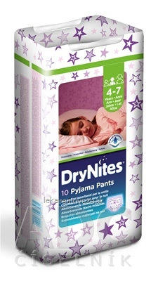 HUGGIES DRY NITES MEDIUM PRE DIEVCATA (4-7 rokov) plienkové nohavičky 17-30 kg 1x10 ks