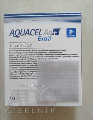 AQUACEL Ag+ Extra krytie na rany so striebrom so zosilneným účinkom, 5x5 cm, 1x10 ks