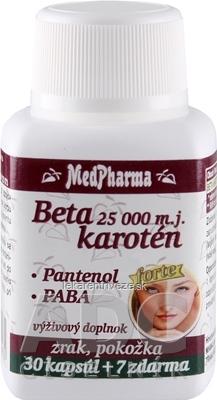 MedPharma BETAKAROTÉN 25.000 m.j.+Pantenol+PABA cps 30+7 zadarmo (37 ks)