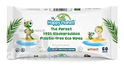 AQUAINT HAPPY PLANET vlhčené obrúsky 100% bio odbúrateľné, bez parfému a alkoholu 1x60 ks