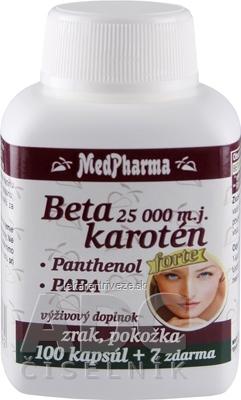 MedPharma BETAKAROTÉN 25.000 m.j.+Pantenol+PABA cps 100+7 zadarmo (107 ks)
