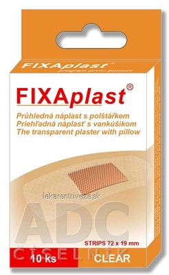 FIXAplast CLEAR náplasť strip priehľadná, s vankúšikom 72x19 mm, 1x10 ks