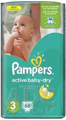 PAMPERS Active Baby-dry VPP 3 Midi plienky jednorazové (5-9 kg) 1x68 ks