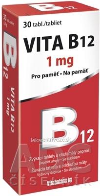 Vitabalans VITA B12 1 mg žuvacie tablety s príchuťou mäty 1x30 ks