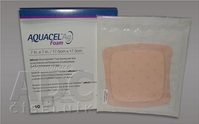 AQUACEL Ag foam Hydrofiber krytie na rany adhezívne so striebrom, 17,5 x17,5 cm, 1x10 ks