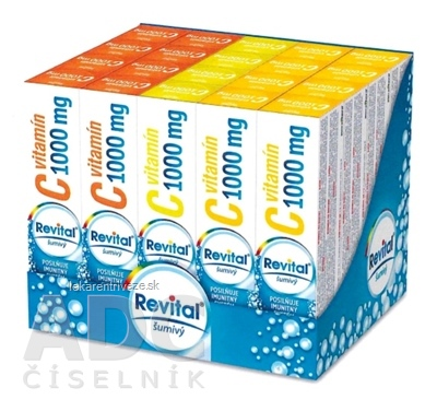 Revital effervescent MIX BOX Vitamín C 1000 mg tbl eff (5 príchutí x 4 ks) (20 ks), 1x1 set