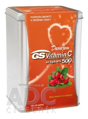 GS Vitamín C 500 so šípkami darček 2019 tbl (strieborná dóza) 100+20 (120 ks)