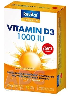 Revital Vitamín D3 FORTE 1 000 IU tbl s príchuťou maliny 1x90 ks