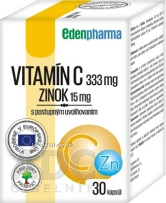 EDENPharma VITAMÍN C + ZINOK cps s postupným uvoľňovaním 1x30 ks