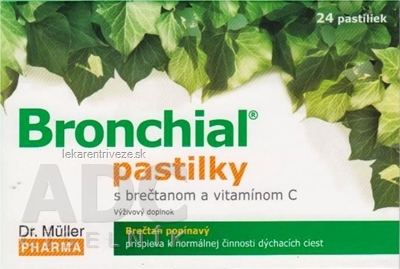 Dr. Müller BRONCHIAL pastilky s brečtanom a vitamínom C, 1x24 ks
