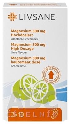 LIVSANE Magnézium 500 mg šumivé tablety, Lime, vysoká dávka, 1x20 ks