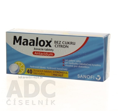 Maalox bez cukru citron tbl mnd 400 mg/400 mg (blis.) 1x40 ks