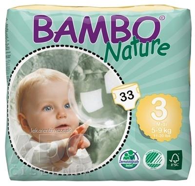 BAMBO MIDI 3 (5-9 kg) detské plienky priedušné, savosť 800 ml, 1x33 ks