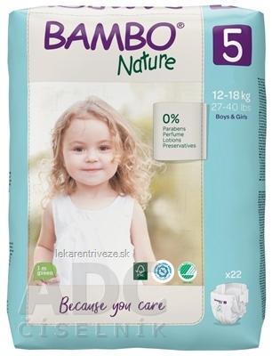 BAMBO 5 (12-18 kg) detské plienky priedušné, savosť 1100 ml (inov.2020) 1x22 ks