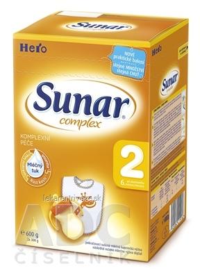 SUNAR COMPLEX 2, nový mliečna výživa (od ukonč. 6. mesiaca) inov.2016 (2x300 g), 1x600 g