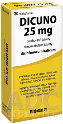 DICUNO 25 mg filmom obalené tablety tbl flm 25 mg (blis.) 1x30 ks