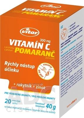 VITAR vitamín C 300 mg + rakytník + zinok vrecúška, sypká zmes s príchuťou pomaranč 1x20 ks