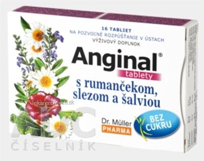Dr. Müller ANGINAL s rumančekom, slezom a šalviou tbl (pri bolesti v hrdle) 1x16 ks