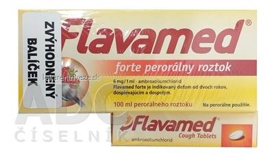 Flavamed forte roztok + Cough Tablets (balíček) sol por 100 ml (ŠÚKL: 2539A) + tbl 30 mg 20 ks (ŠÚKL: 45550), 1x1 set