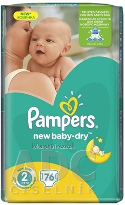 PAMPERS New Baby-dry VPP 2 Mini plienky jednorazové (3-6 kg) 1x76 ks