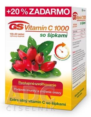 GS Vitamín C 1000 so šípkami 2016 tbl 100+20 (20 % zadarmo) (120 ks)
