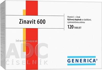 GENERICA Zinavit 600 s príchuťou pomaranča tbl (vitamín C + Zinok) 1x120 ks