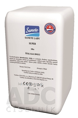 Sanete Lady Super vložky inkontinenčné, savosť 580 ml, veľkosť 38x12,5cm, 1x10 ks