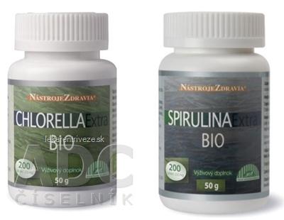 CHLORELLA Extra BIO + SPIRULINA Extra BIO tbl 2x200 ks, 1x1 set