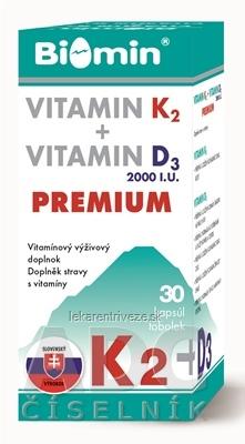 BIOMIN VITAMIN K2 + VITAMIN D3 2000.I.U. PREMIUM cps 1x30 ks
