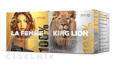 DELTA Partner. balíček LA FEMME&KING LION Collagen rozpustný prášok na prípravu nápoja, 196 g + 240 g, 1x1 set