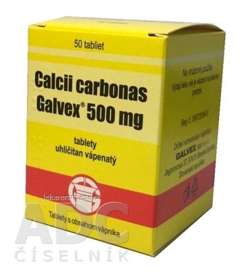 Calcii carbonas Galvex 500 mg tbl (obal PE) 1x50 ks