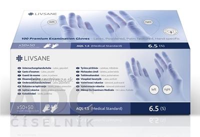 LIVSANE Premium Latexové rukavice pudrované (S) špecifikácia ruky (ľavá 50 ks + pravá 50ks) 1x100 ks