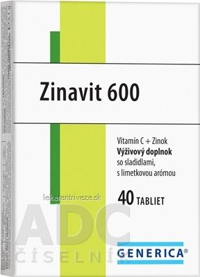 GENERICA Zinavit 600 s limetkovou arómou tbl (vitamín C + Zinok) 1x40 ks