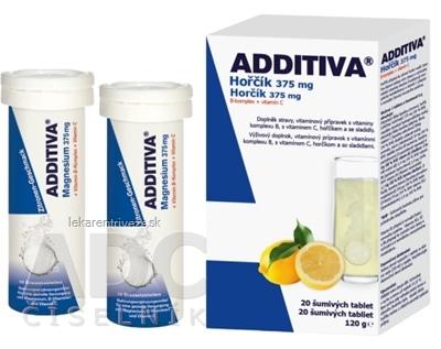 ADDITIVA Horčík 375 mg + B-Komplex + Vitamín C tbl eff 2x10 ks (20 ks)