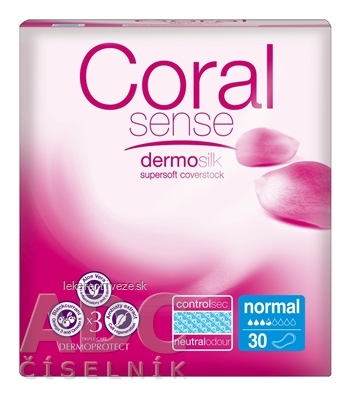 Coral Sense Normal vložky inkontinenčné, pre ženy, 25 cm, 1x30 ks