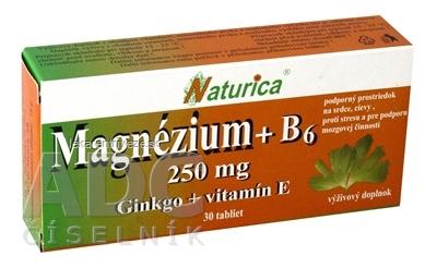 Naturica MAGNEZIUM 250 mg+B6+Ginkgo+vitamín E tbl 1x30 ks
