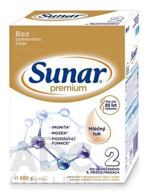 Sunar Premium 2 následná mliečna výživa (od ukonč. 6. mesiaca) (inov.2020) 1x600 g