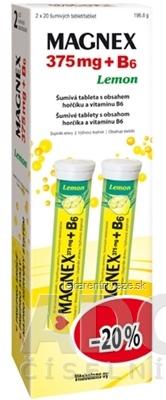 Vitabalans MAGNEX 375 mg + B6 effervescent tbl eff Lemon (AKCIA -20%) 2x20 ks (40 ks)