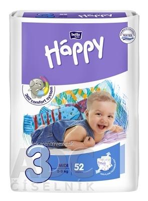 bella HAPPY 3 MIDI detské plienky (5-9 kg) 1x52 ks