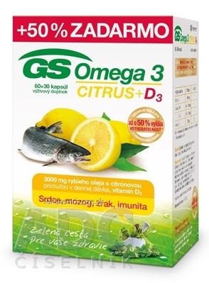 GS Omega 3 CITRUS + D3 cps 60+30 (50% zadarmo) (90 ks)