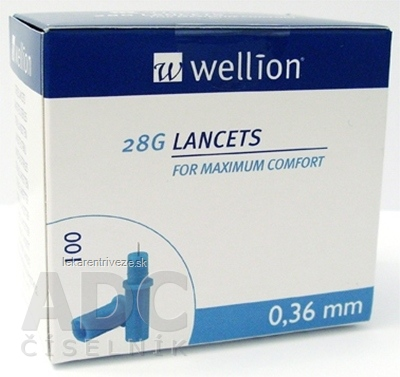 Wellion LANCETS 28G - Lanceta sterilná priemer 0,36 mm (WELL208) 1x100 ks