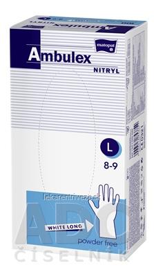 Ambulex rukavice NITRYLOVÉ veľ. L, biele, nesterilné, nepúdrované, 1x100 ks