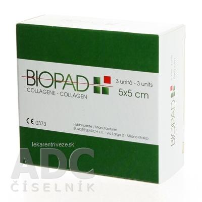 BIOPAD kolagénové krytie rán 5x5x0,7 cm, sterilné 1x3 ks