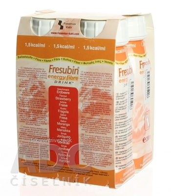 Fresubin Energy fibre DRINK EasyBottle, príchuť jahodová, 4x200 ml (800 ml)