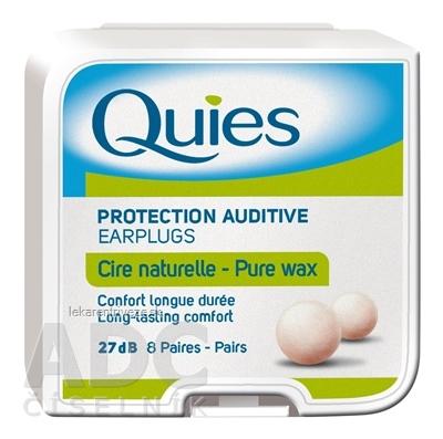 Quies Chrániče sluchu z prírodného vosku 27 dB, 8x2 ks