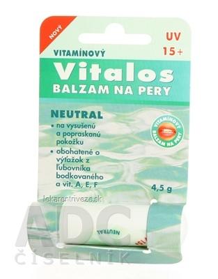 VITALOS Balzam na pery neutral SPF 15 vitamínový 1x1 ks