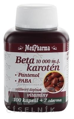 MedPharma BETAKAROTÉN 10 000 m.j.+Pantenol+PABA cps 100+7 zadarmo (107 ks)