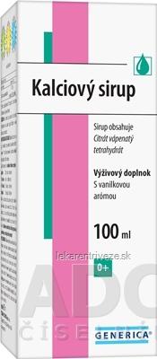 GENERICA Kalciový sirup s vanilkovou arómou 1x100 ml